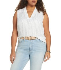 plus size women's halogen v-neck sleeveless top, size 2x - ivory