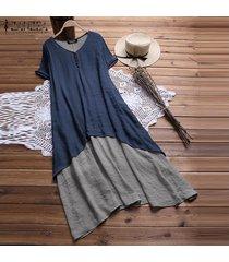 zanzea vestido de manga corta para mujer vestido de camisa suelta de doble capa vestido a media pierna -azul marino