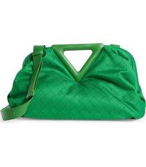 bottega veneta point jacquard shoulder bag - green