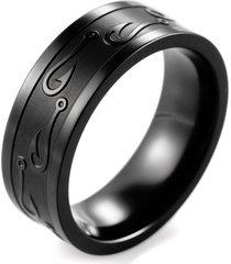 men's black titanium fish hooks ring outdoor hunting wedding band