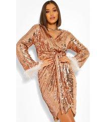 midi wikkel jurk met veren zoom en pailletten, gold