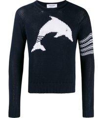 thom browne dolphin intarsia crew neck sweater - blue