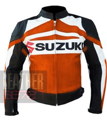 suzuki gsx orange leather motorcycle motorbike biker armour racing jacket coat