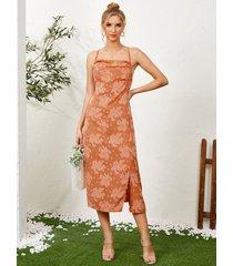vestido a media pierna con diseño de lazo sin espalda y estampado floral caído drapeado