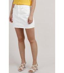 saia de sarja feminina curta com tachas off white
