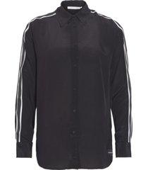 camisa manga larga relaxed tape faux silk shirt negro calvin klein