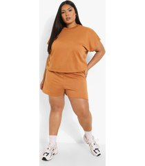 plus pyjama set met boxy top en shorts, camel