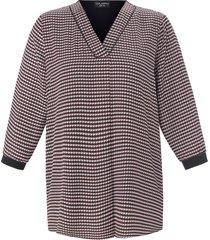 blouse met 3/4-mouwen en pied-de-pouledessin van via appia due multicolour