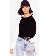 womens watch your two-tone knitted sweater - black