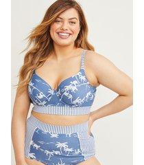 lane bryant women's mixed print longline swim bikini top with balconette bra 36dd safari bijou blue