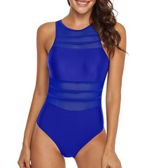 mesh panel see thru cutout one-piece swimsuit