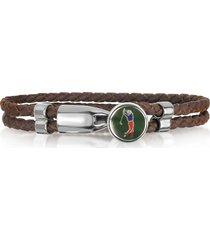 forzieri designer men's bracelets, green golfer brass and leather men's bracelet
