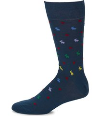 paul smith men's rabbit print socks - navy