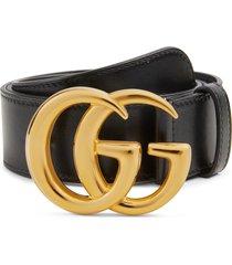 women's gucci gg logo buckle leather belt, size 95 - black