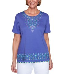 alfred dunner costa rica embroidered top