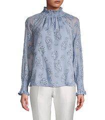floral-print raglan-sleeve top