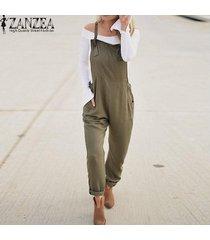 zanzea mujeres largo bib pantalones peto mono mameluco más el tamaño de traje de trabajo -verde