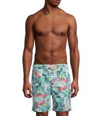 brooks brothers men's tropical-print swim shorts - green - size s