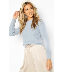 cropped fisherman sweater, pastel blue