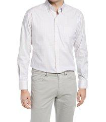 men's peter millar crown ease royce regular fit stretch check button-down shirt, size x-large r - orange