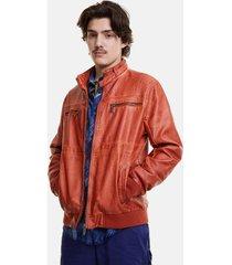 padded biker jacket - orange - xxl
