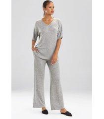 n-trance top pajamas, women's, grey, size l, n natori