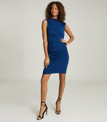 reiss bali - ruched bodycon dress in blue, womens, size 14