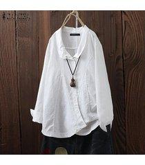 zanzea mujeres down asimétrica hem tapas de la camisa de la solapa de la camisa ocasional de la blusa plus -blanco