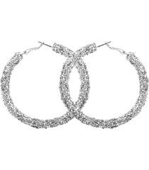 guess silver-tone large sequin hoop earrings, 2-3/8""