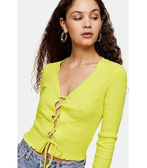 tall lime green ribbed lace up cardigan - lime