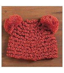 hand-crocheted alpaca blend hat, 'fun pompoms in paprika' (peru)