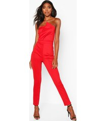 tall bandeau wrap detail jumpsuit, red