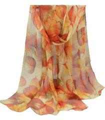 lenço de chiffon echarpe artestore folhas grande tons de feminino