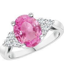 pink sapphire 14k white gold finish engagement ring pure 925 sterling silver