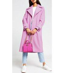 river island womens bright pink cuff detail coat
