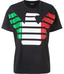 emporio armani italian print t-shirt - black