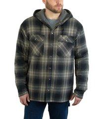 wolverine men's byron hooded shirt jac onyx plaid, size l