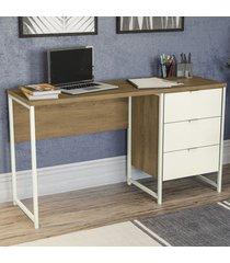 mesa para computador 3 gavetas j971-frow freijó/off white - kappesberg