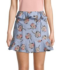 floral cotton ruffled mini skirt