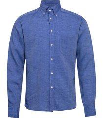 button down linen shirt overhemd business blauw eton