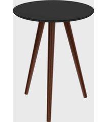 mesa lateral redonda valentinna preto/pé escuro retrô artesano