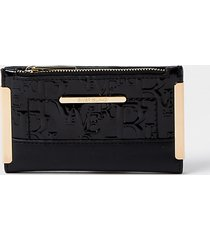 river island womens black embossed mini foldout purse