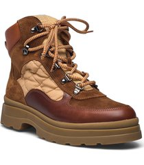 windpeak mid lace boot shoes boots ankle boots ankle boot - flat brun gant
