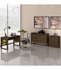 conjunto de escritório com mesa, balcáo e armário baixo 04 nogal e preto dallas - tricae