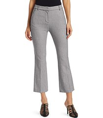 slim-fit cropped kick flare trousers