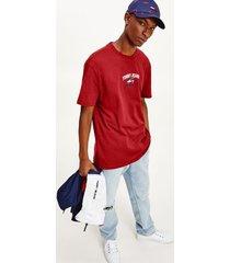 tommy hilfiger men's organic cotton tommy script t-shirt deep crimson - m