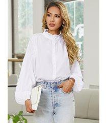 blusa de manga larga con cuello simulado de diseño plisado yoins