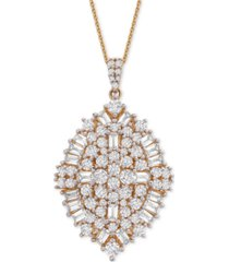 "wrapped in love diamond baguette cluster (2 ct. t.w.) 20"" pendant necklace in 14k gold, created for macy's"