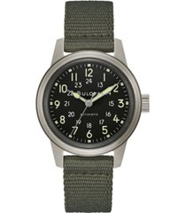 bulova men's automatic military green nylon strap watch 38mm