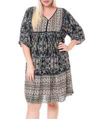 plus size women's single thread mix print dress, size 2x - black
